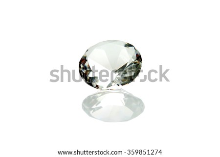 Beautiful Real Diamond with Reflections Isolated on White with Room for your text. Diamonds are a girls best friend.  - stock photo