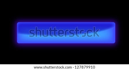 Beautiful rectangular blue glossy blank button on the black background - stock photo