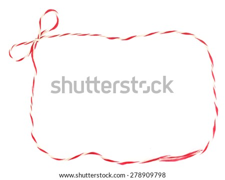 Beautiful red and white  bow rope  as frame isolated on white - stock photo