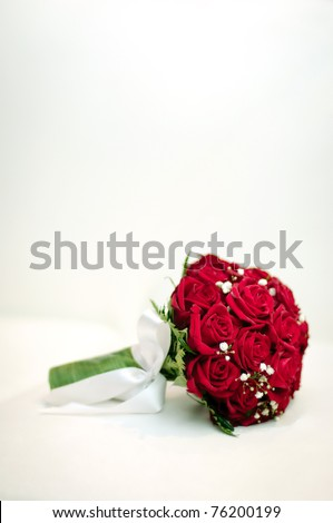 beautiful red and white fresh flowers wedding bouquet - stock photo