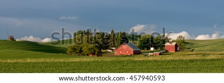 Beautiful red barn on a Farm in the state of Idaho