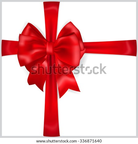 Beautiful red bow with crosswise ribbons with shadow - stock photo
