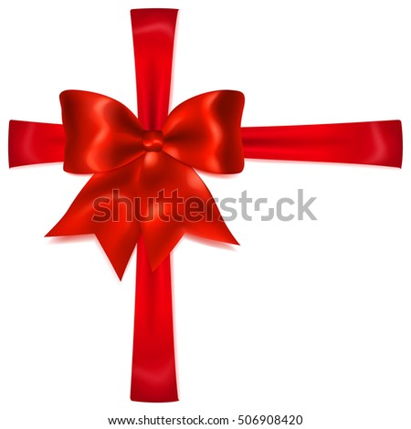 Beautiful red bow with crosswise ribbons with shadow. Big red bow. Bow for gift decoration