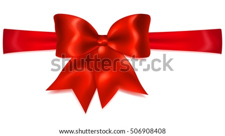 Beautiful red bow with horizontal ribbon with shadow. Big red bow. Bow for gift decoration