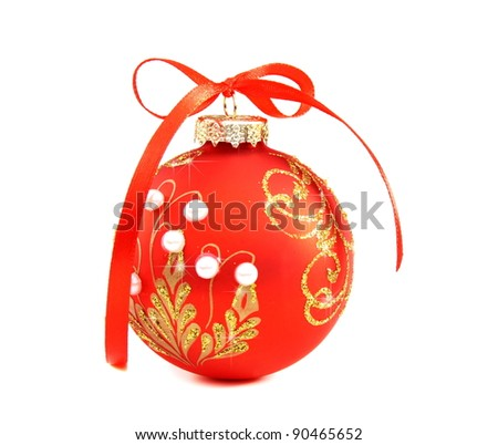 Beautiful red Christmas ball on white background.