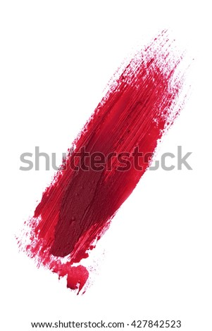 Beautiful red color lipstick stroke on background