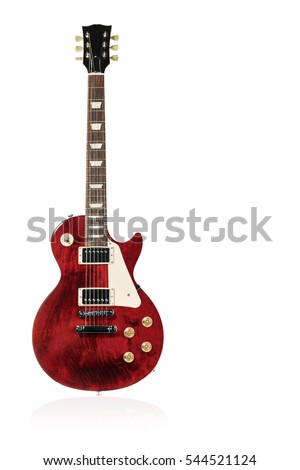 Beautiful red electric guitar with reflection isolated on white background