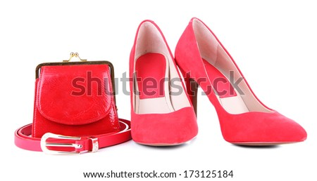 Beautiful red female shoes, purse and belt, isolated on white