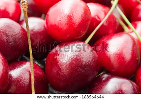 Beautiful red fresh cherry macro photo background