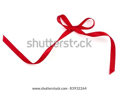 Beautiful red gift ribbon bow isolated on white background - stock photo