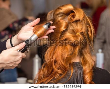 elegant wavy hair blonde curls close stock photo