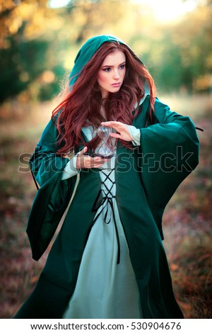 Beautiful Red Haired Girl Green Medieval Stock Photo ...