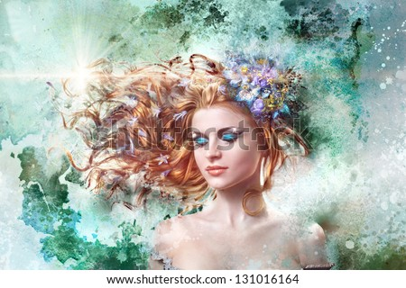 beautiful red-haired girl with flowers in their hair, art