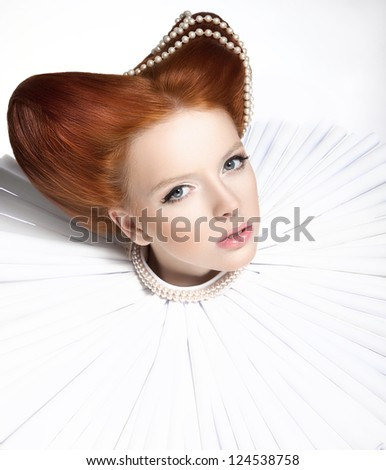 Beautiful Red Head Duchess in Jabot - Retro Style. Dramatic Theatrical Makeup. Masquerade - stock photo