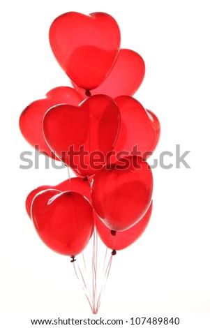 beautiful red heart balloons - stock photo