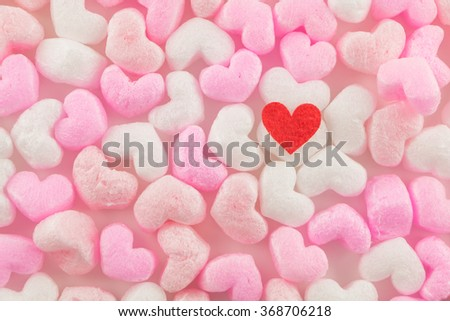 beautiful  red heart on pink and white  heart  buffer background - stock photo