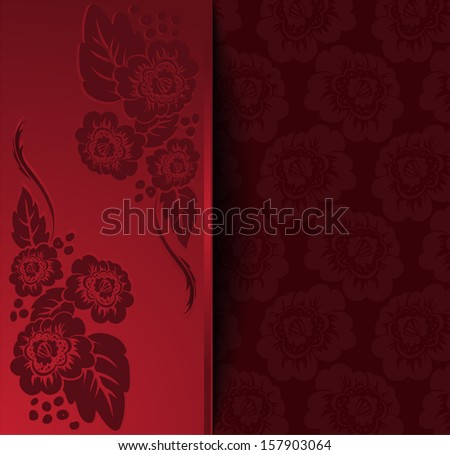 beautiful red invitation with a flower ornament - stock photo