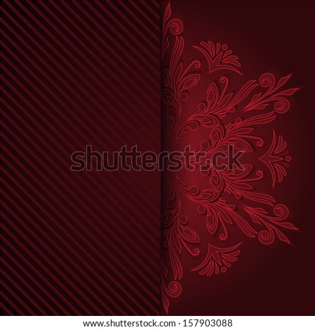 beautiful red invitation with a round vintage ornament - stock photo