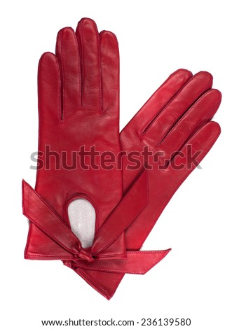 Beautiful red leather women's gloves isolated on white  - stock photo