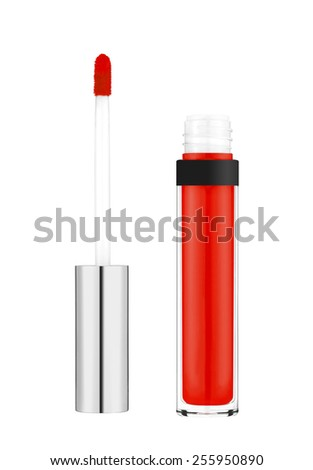 Beautiful red lip gloss isolated on white background - stock photo