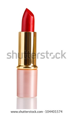 beautiful red lipstick isolated on white
