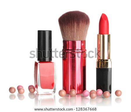 Beautiful red lipstick, nail polish and brush isolated on white - stock photo