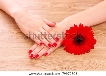 beautiful red manicure and  flower on a wooden background - stock photo