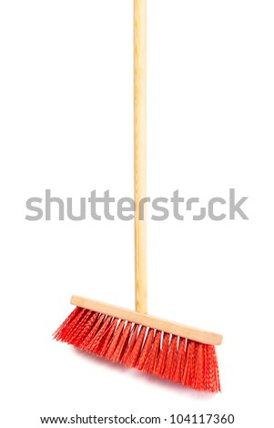 Beautiful red mop on a white background - stock photo