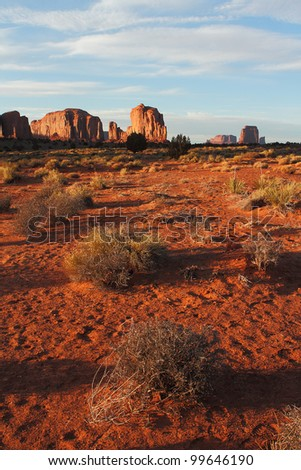 Beautiful Red Navajo Sandstone Buttes of Monument Valley - stock photo
