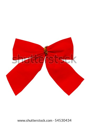 Beautiful red New Year's bow on a white background