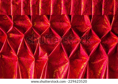 Beautiful  Red pleated fabric for decoration