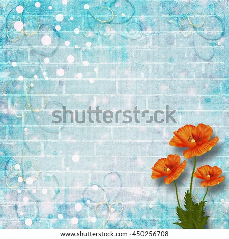 Beautiful red poppies on background of old brick wall for congratulations