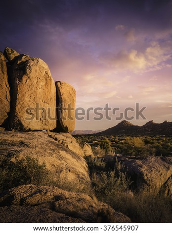 Beautiful red rock boulders overlooking north Scottsdale area in Arizona,USA