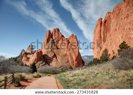 Beautiful red rock formations at sunrise at Garden of the Gods in Colorado Springs - stock photo