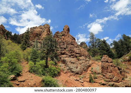 Beautiful red rock formations in North Cheyenne Canyon Park in Colorado
