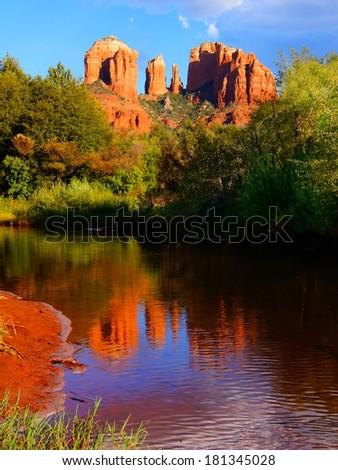 Beautiful red rocks of Sedona, Arizona, USA with reflections at sunset - stock photo
