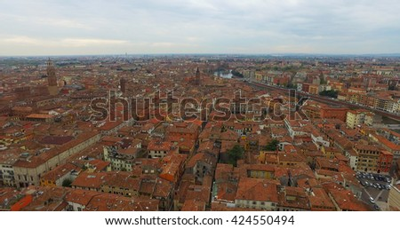 Beautiful red roofs of Verona - stock photo