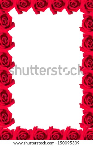 Beautiful Red Rose Flower Frame On Stock Illustration 150095309 ...