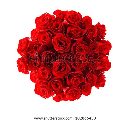 Beautiful red roses bouquet  isolated on white - stock photo