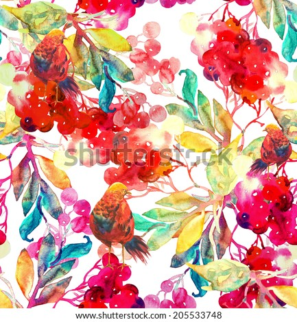 Beautiful Red Rowan Berries Twig and Bird, Seamless Pattern.  - stock photo