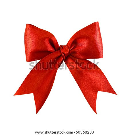 Beautiful red satin gift bow, isolated on white - stock photo