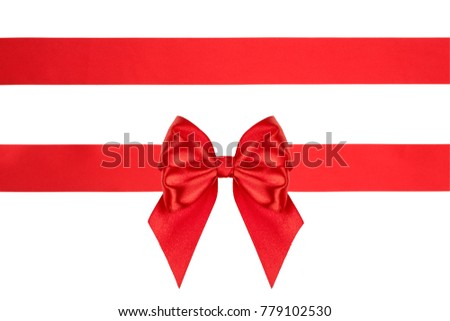 Beautiful red satin ribbon bow with ribbons isolated on white background