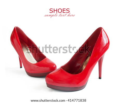 Beautiful red shoes and bag isolated on white background
