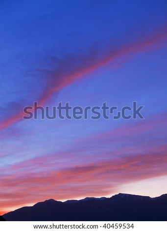Beautiful red sunrise in the mountains