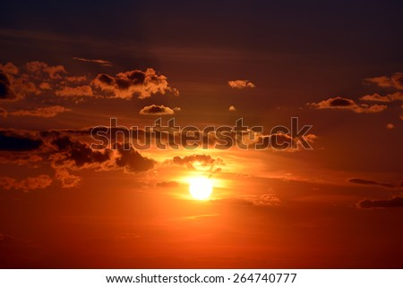Beautiful red sunset in sky