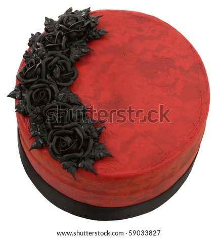 Beautiful Red Velvet, red and black goth style cake over white background. - stock photo