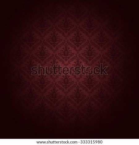 beautiful red wallpaper patter: baroque-style.  also an elegant wrapping paper or background for christmas. - stock photo