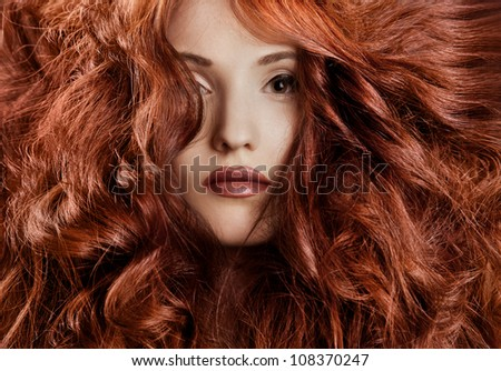 Beautiful redhair woman close-up portrait