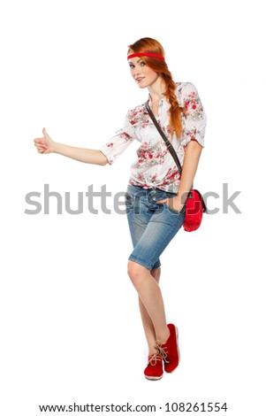 Beautiful redheaded tourist woman . Isolated on a white background