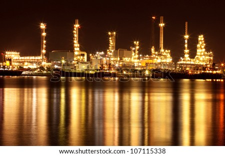 Beautiful refinery oil plant at night - stock photo